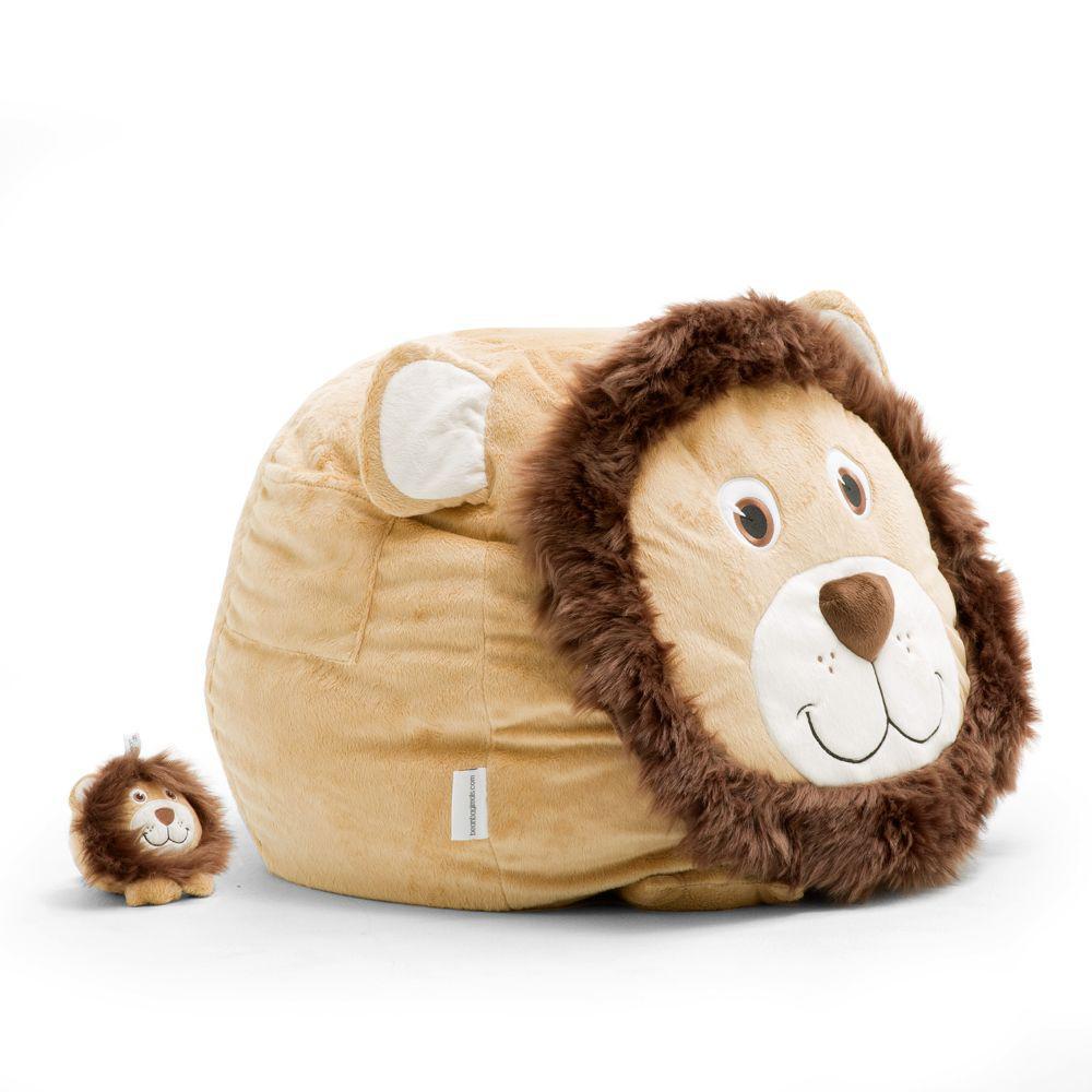 Leo the Lion Cozy Light Brown Plush Bean Bag