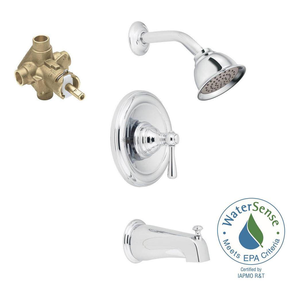 moen three handle shower faucet. Kingsley 1 Handle PosiTemp Tub Shower Trim Kit with Eco Performance  Showerhead MOEN Roman Faucets Bathtub The Home Depot