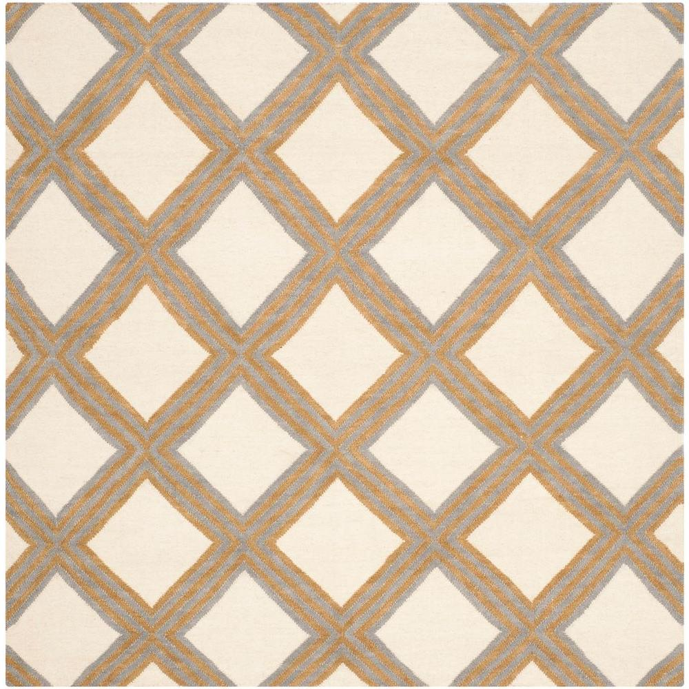 Safavieh Dhurries Ivory Gold 6 Ft X 6 Ft Square Area Rug