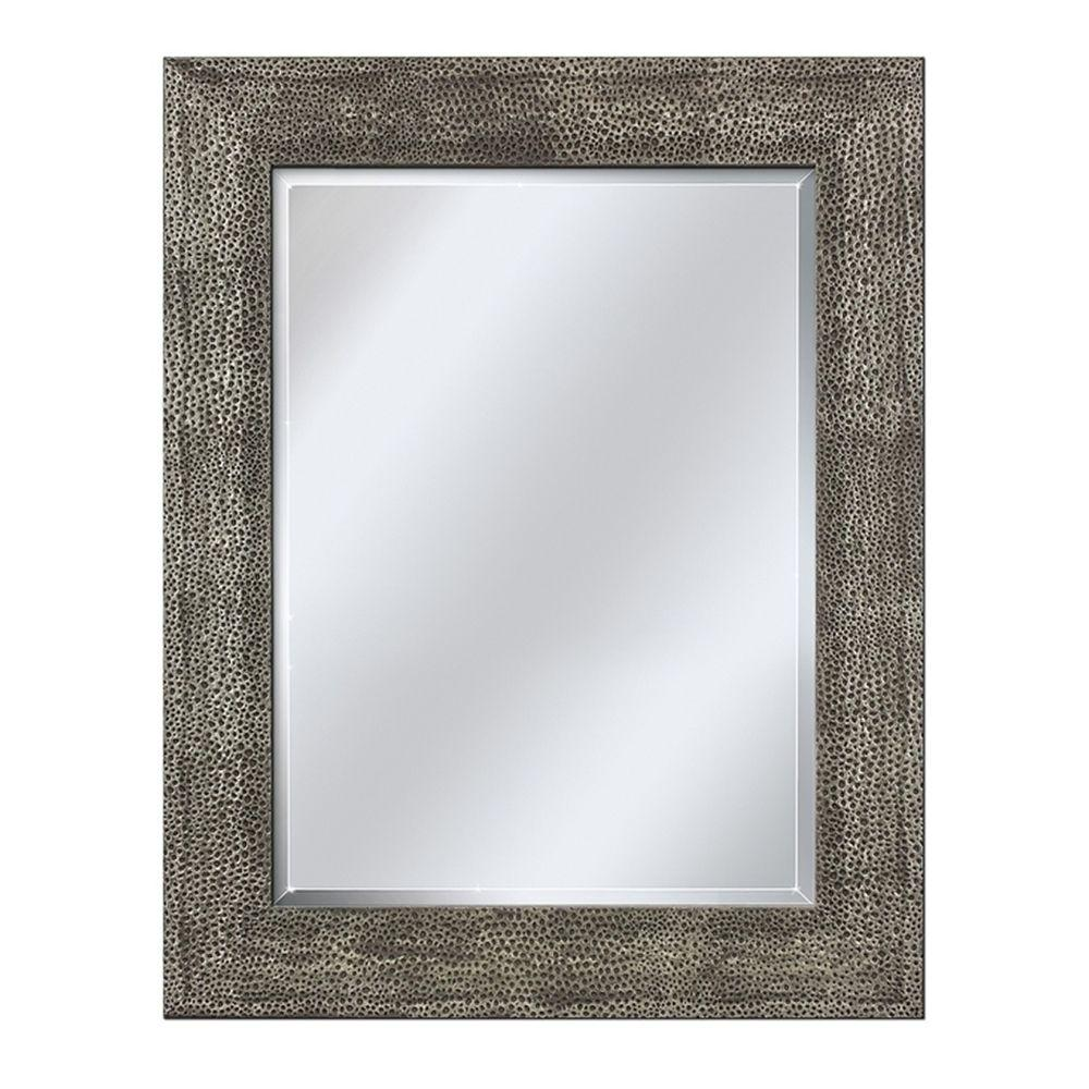 Deco Mirror 35 in. L x 29 in. W Wall Mirror in Hammered Pewter