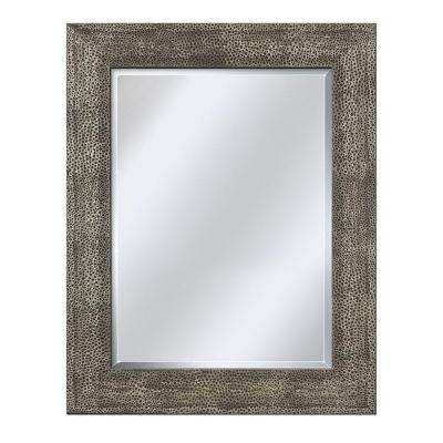 35 in. L x 29 in. W Wall Mirror in Hammered Pewter