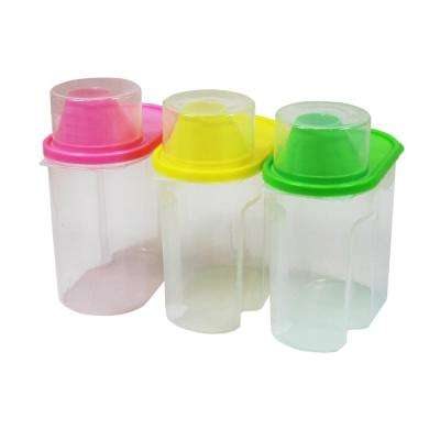 Small BPA-Free Plastic Food Saver, Kitchen Food Cereal Storage Containers with Graduated Cap (Set of 3)