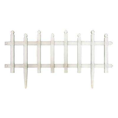 12 in. H White Classic Picket Style Plastic Garden Fence