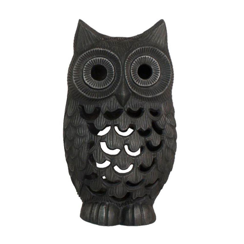 Home Decorators Collection Owl 10 in. H Grey Tea Light Holder