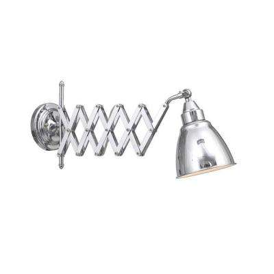 1-Light 9.5 in. Chrome Accordian Swing Arm Lamp