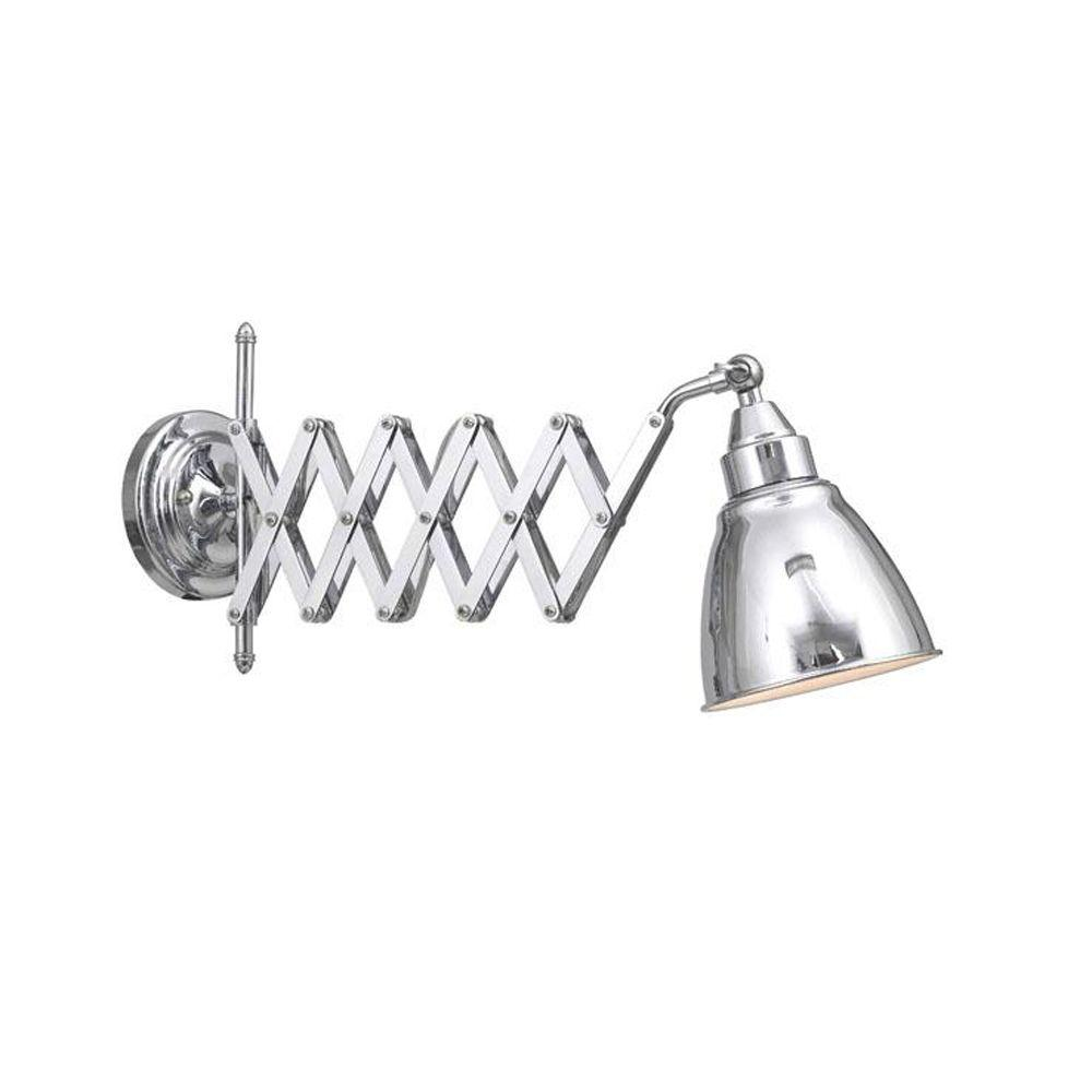 Home Decorators Collection 1-Light 9.5 in. Chrome Accordian Swing Arm Lamp