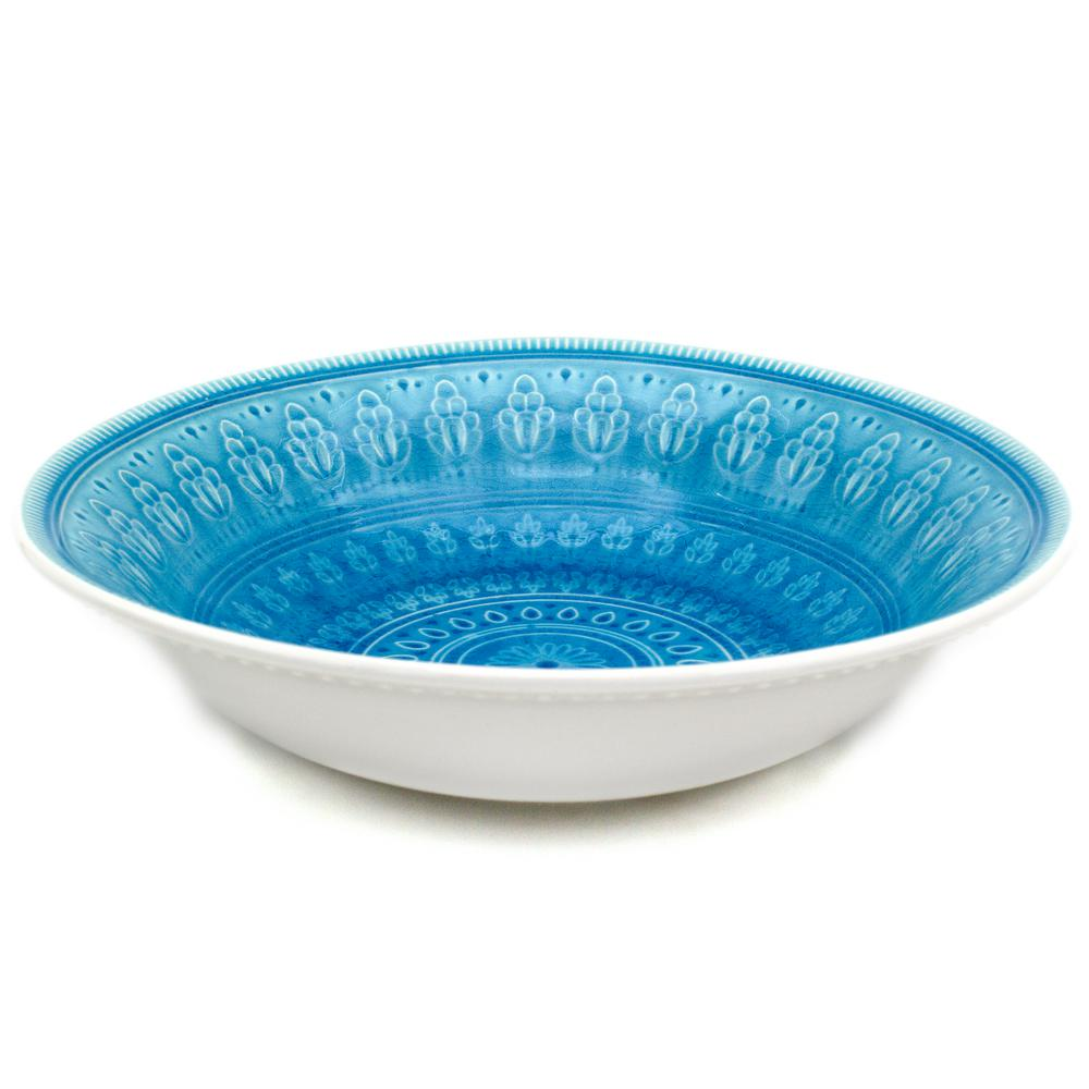 Fez Turquoise Crackle-Glaze Serving Bowl