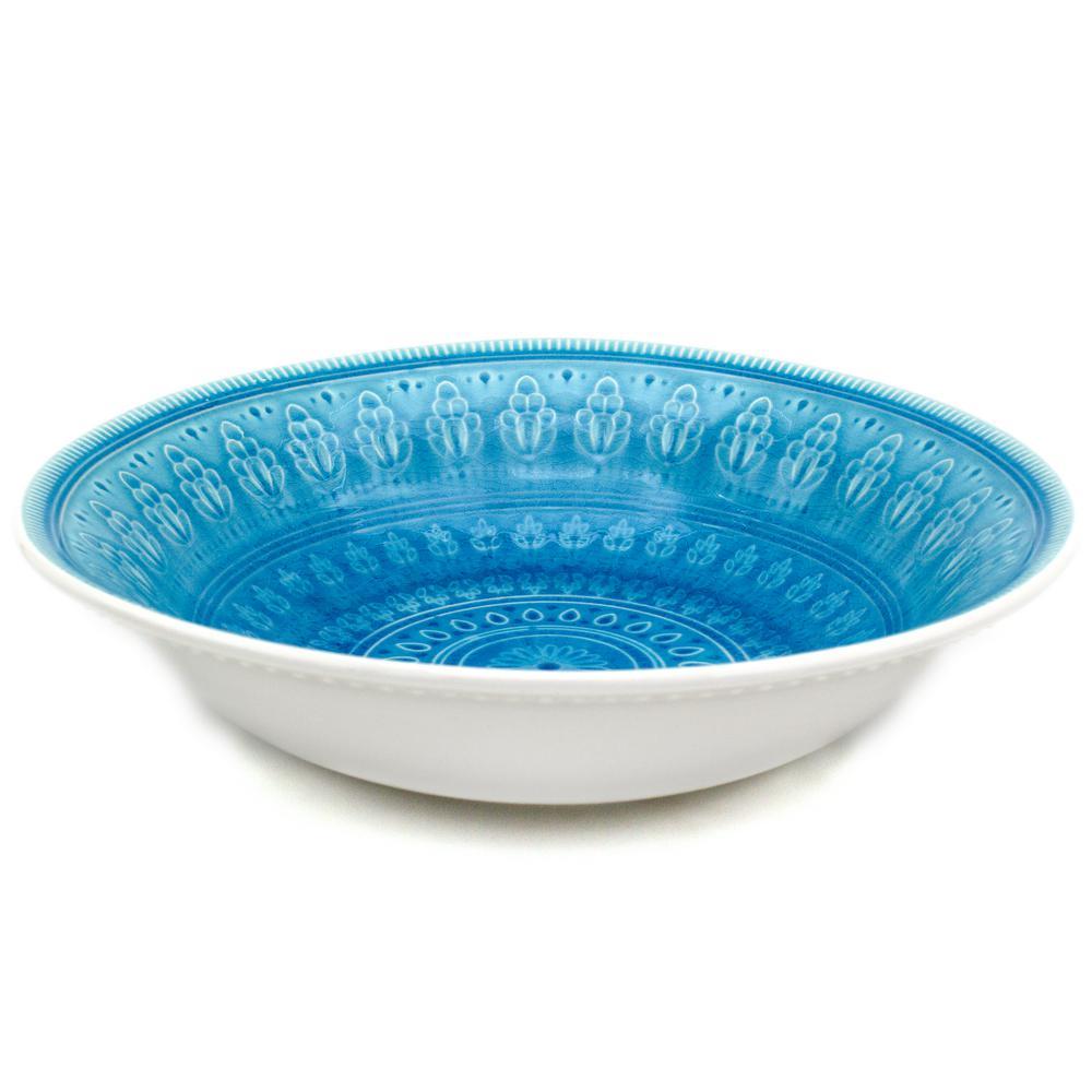 Fez Turquoise Crackle-Glaze Serving Bowl