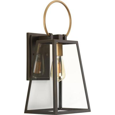 Barnett Collection 1-Light Antique Bronze 18.9 in. Outdoor Wall Lantern Sconce