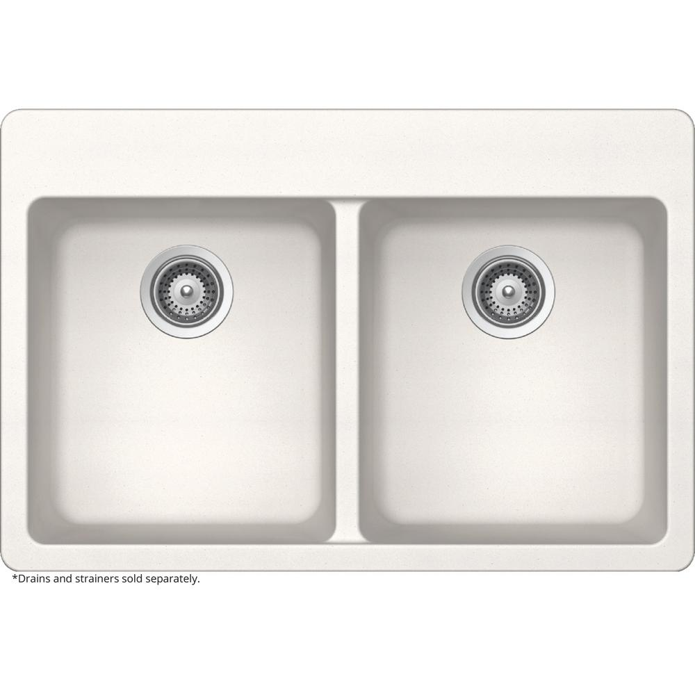 Elkay Elkay by Schock Dual Mount Quartz Composite 33 in. Double Bowl Kitchen Sink in White