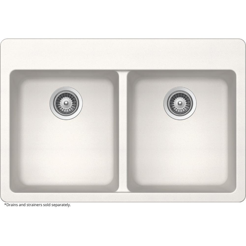 Elkay by Schock Drop-In/Undermount Quartz Composite 33 in. 50/50 Double Bowl Kitchen Sink in White