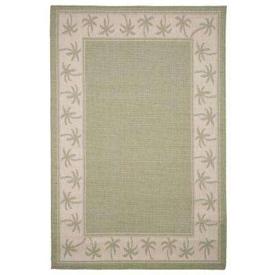 Palm Trees Green 5 ft. x 8 ft. Indoor/Outdoor Area Rug