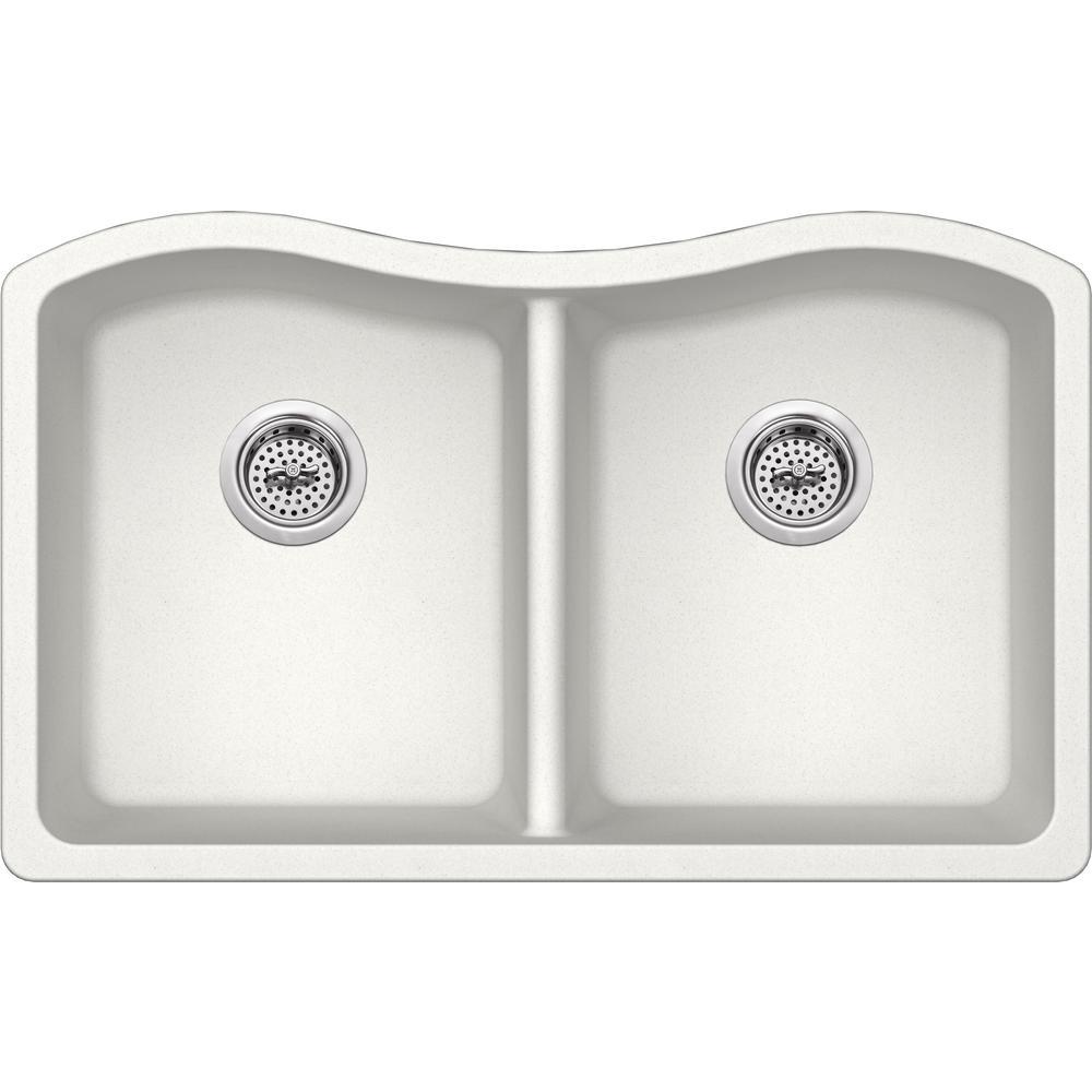 Undermount Granite Composite 33 in. 50/50 Double Bowl Kitchen Sink in Alpine White