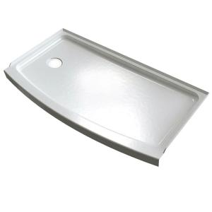 American Standard Ovation Curve 30 inch x 60 inch Single Threshold Left Hand Drain Shower Base in Arctic White by American Standard