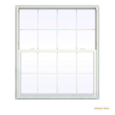 47.5 in. x 59.5 in. V-2500 Series White Vinyl Single Hung Window with Colonial Grids/Grilles