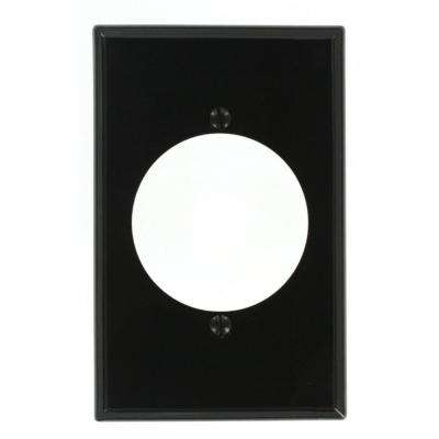 1-Gang with 2.15 in. Dia Hole, Midway Size, Nylon Power Outlet Wall Plate - Black