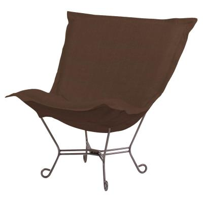 Scroll Puff Chair with Cover, Titanium Frame, Sterling Chocolate