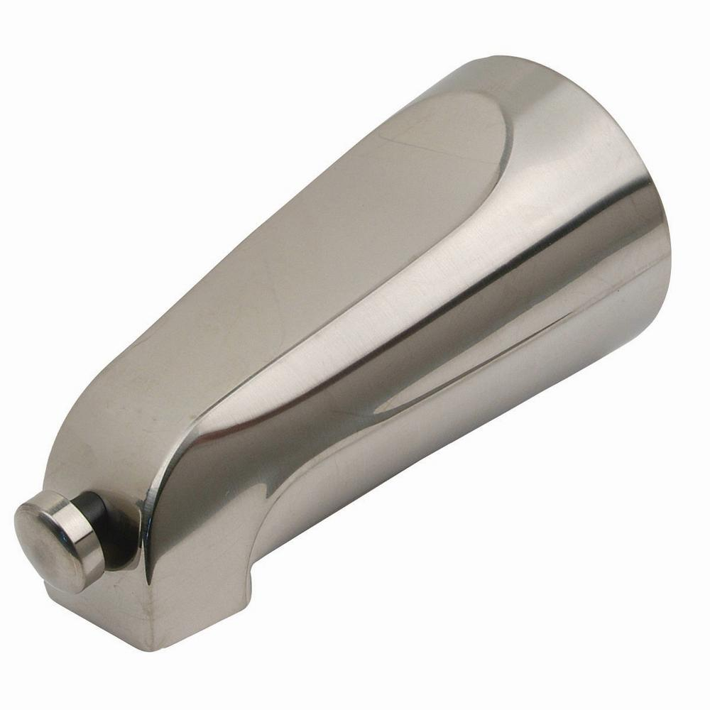 Mixet 5-1/8 in. Quikspout Diverter Tub Spout in PVD Satin Nickel