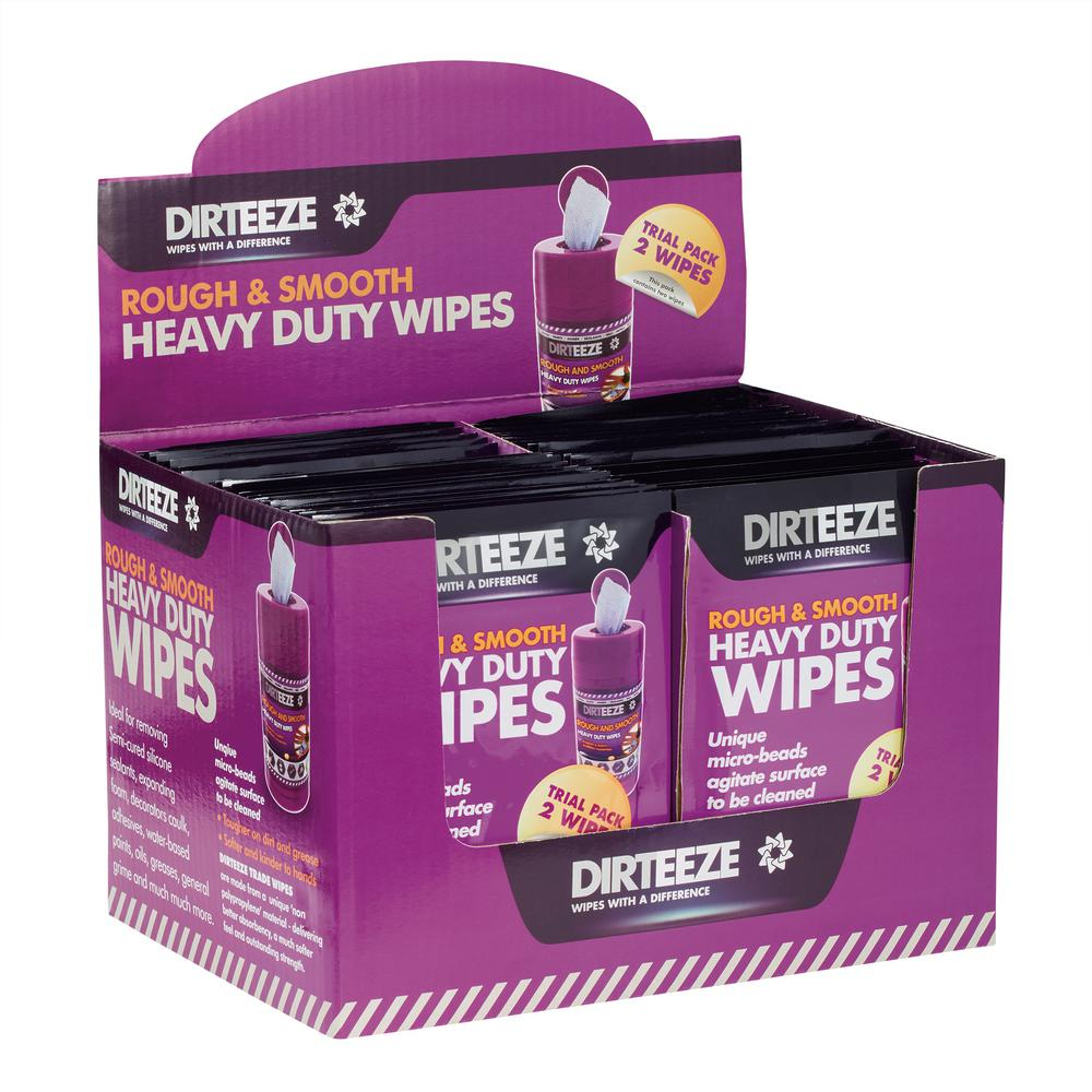 Dirteeze 1 oz. Rough and Smooth Heavy Duty Wet Wipes - Box of 50 Twin Packs of Spunlace Rough and Smooth Beaded Wipes