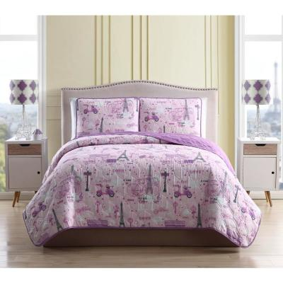 Kute Kids Magical Paris Full/Queen 3-Piece Quilt Set