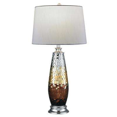 30.5 in. Coppula Polished Chrome Metal and Mosaic Table Lamp with Fabric Shade