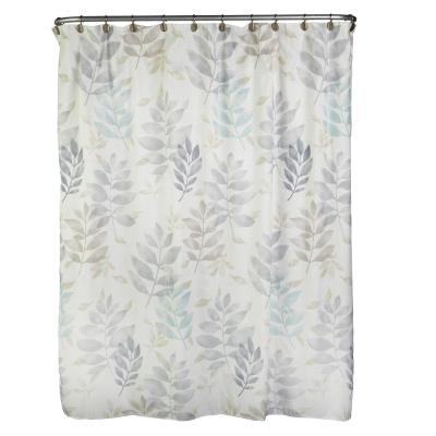 Pencil Leaves 72 in. Multi-Colored Shower Curtain