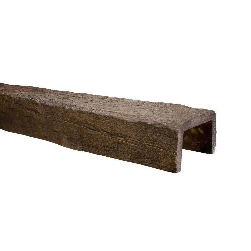 5-1/8 in. x 8 in. x 13 ft. Dark Walnut Hand Hewn Faux Wood Beam