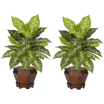 20.5 in. H Green Dieffenbachia Silk Plant with Wood Vase (Set of 2)