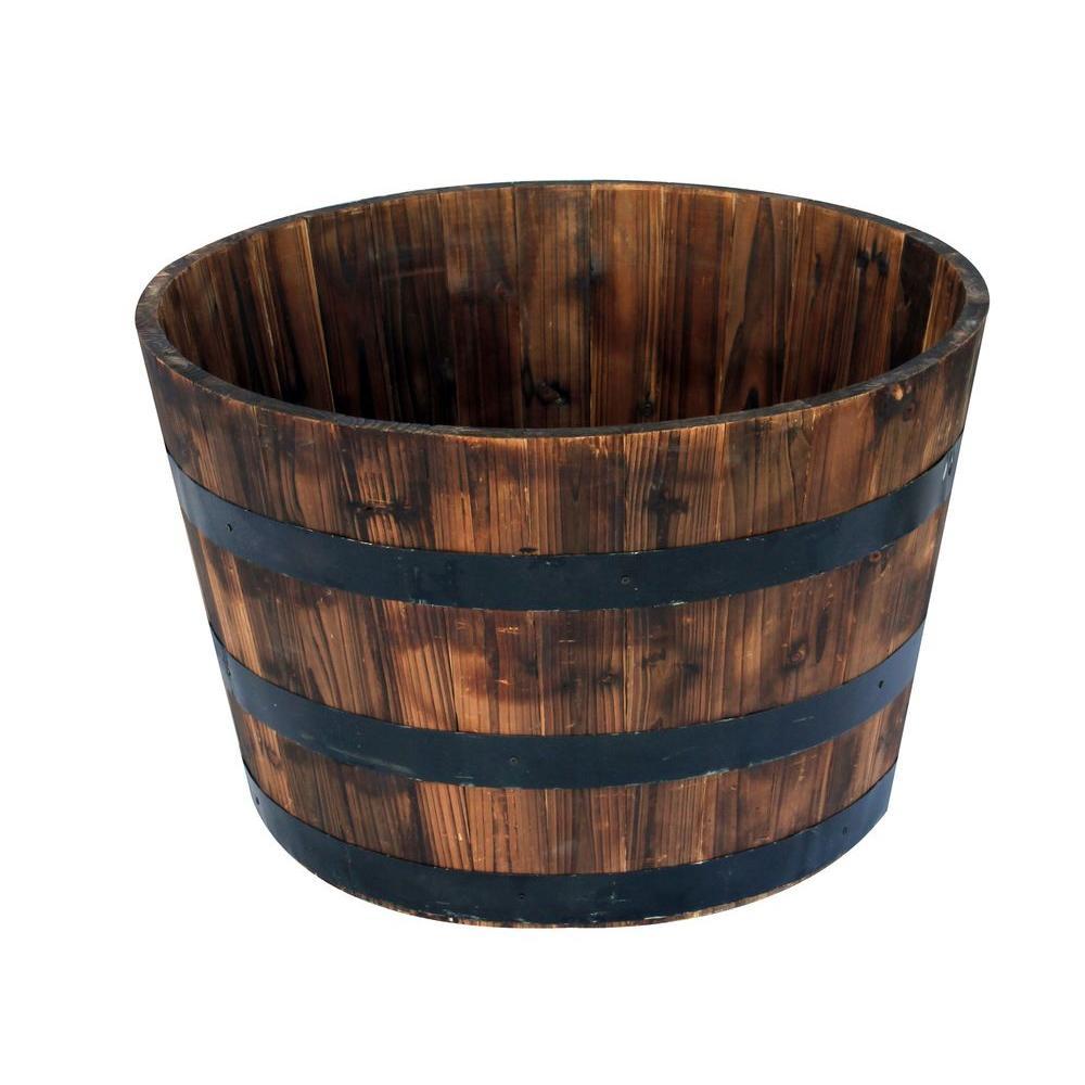 25.98 in. Dia x 16.54 in. H Round Wooden Barrel Planter