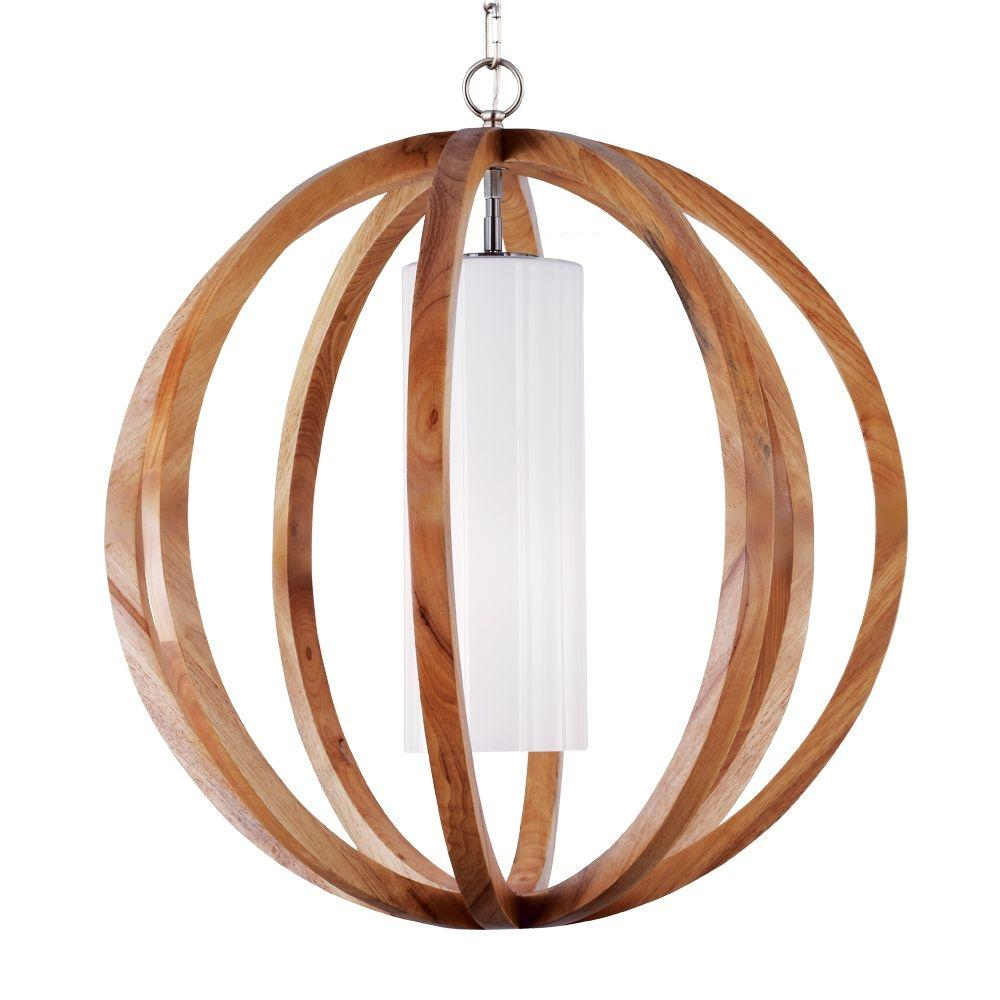 Feiss Allier Wood/Brushed Steel Large Pendant