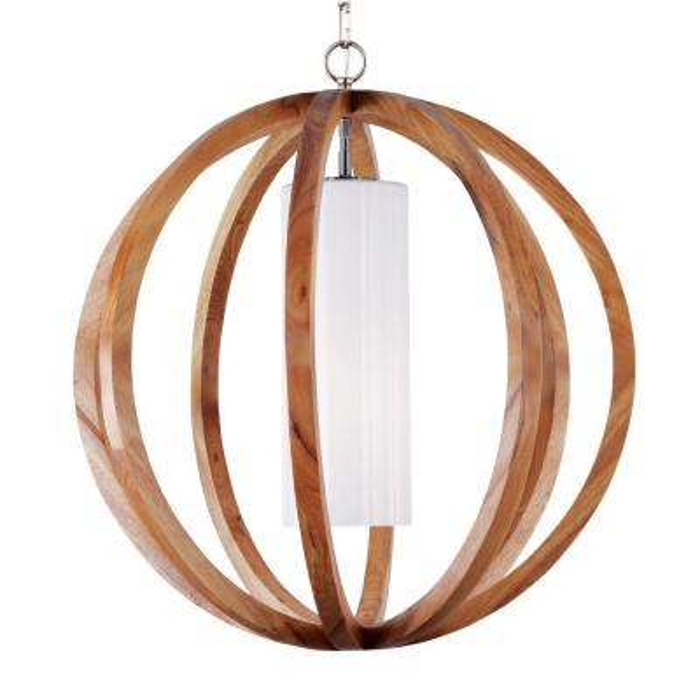 Allier Wood/Brushed Steel Large Pendant