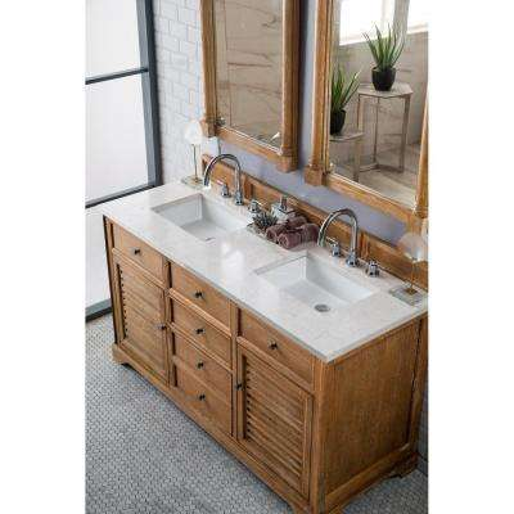 James Martin Vanities Savannah 60 In Double Bath Vanity In Driftwood With Quartz Vanity Top In Eternal Jasmine Pearl With White Basin 238 104 5611 3ejp The Home Depot