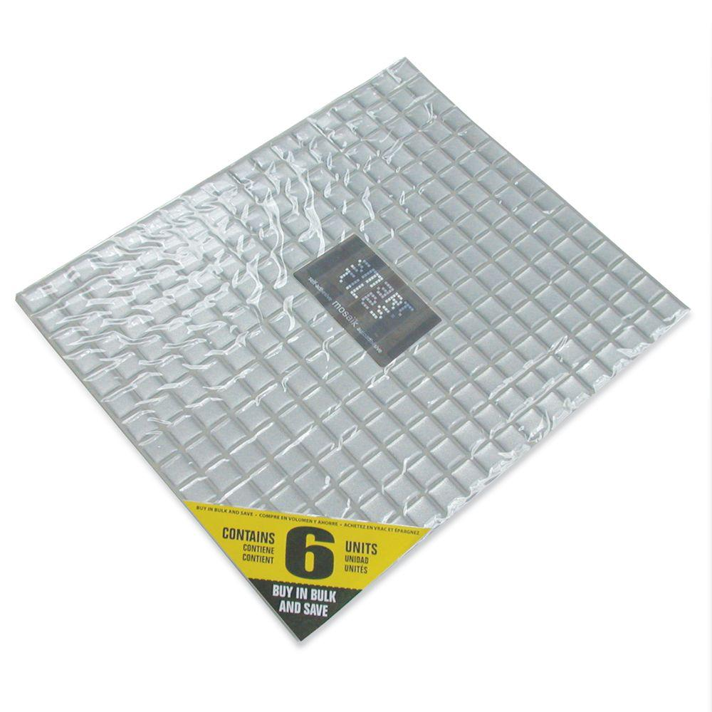 Smart Tiles 9.65 in. x 11.55 in. Peel and Stick Minimo Silver Mosaik (6-Pack)-DISCONTINUED