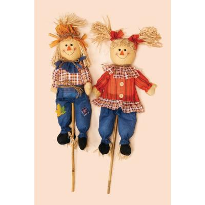 32 in. Boy and Girl Scarecrow (Set of 2)