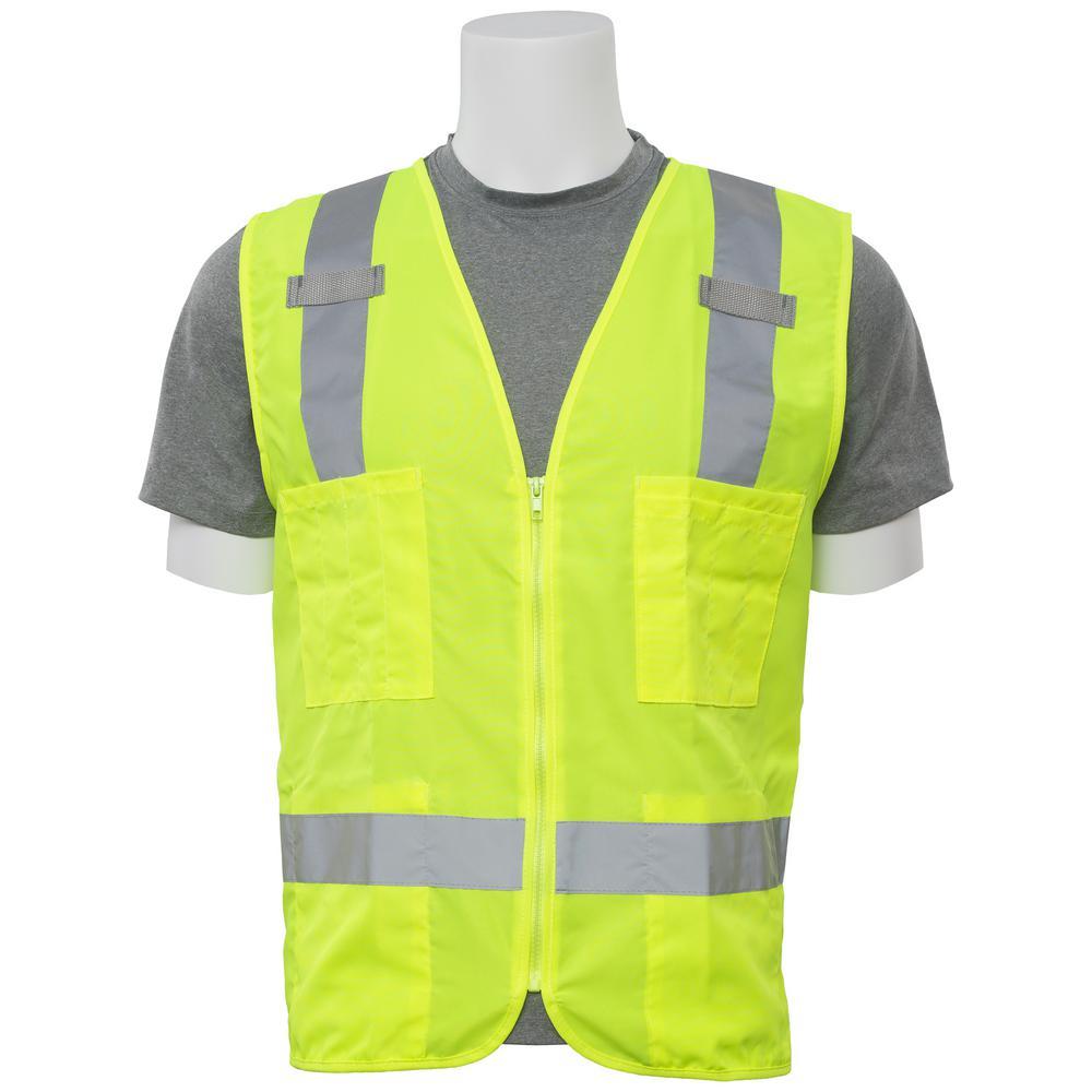 S414 X-Large Hi Viz Lime Poly Oxford Multi-Pocket Surveyor Vest