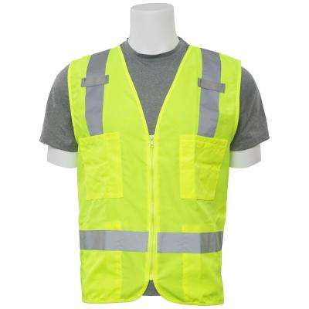 S414 Large Hi Viz Lime Poly Oxford Multi-Pocket Surveyor Vest