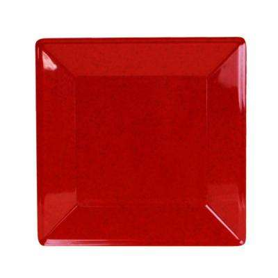 Jazz 8-1/4 in. x 8-1/4 in. Square Plate 7/8 in. Deep in Red (1-Piece)