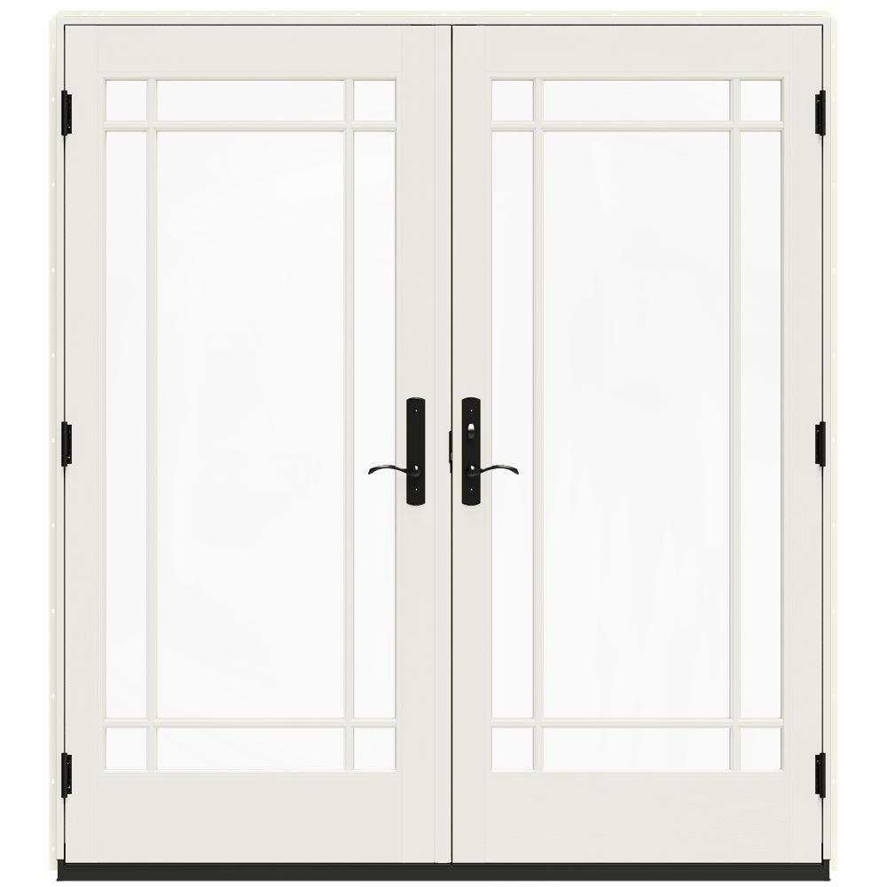 Jeld Wen 72 In X 80 In W 4500 Vanilla Clad Wood Left Hand 9 Lite French Patio Door W White