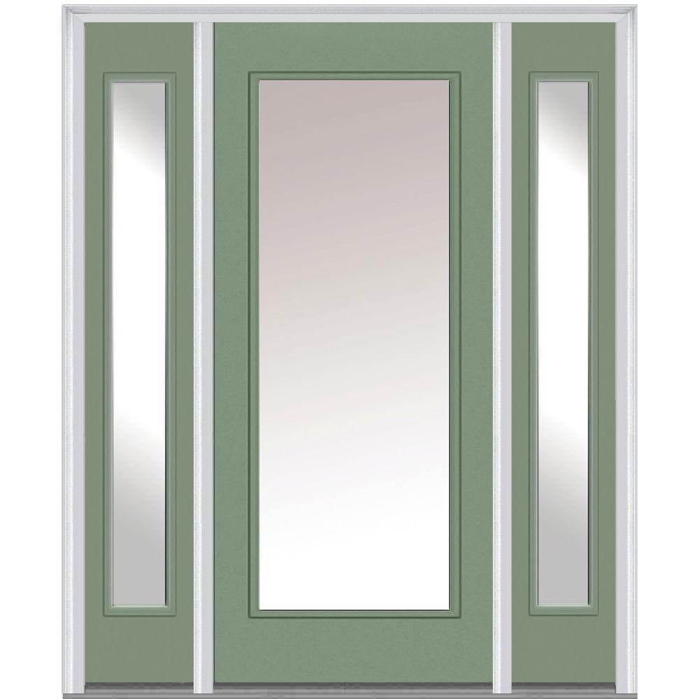 MMI Door 64 in. x 80 in. Classic Left-Hand Inswing Full Lite Clear Painted Steel Prehung Front Door with Sidelites