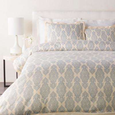 Ivona Dark Blue Full/Queen Duvet Set