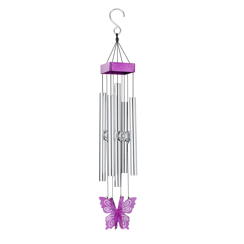Regal Precision-Tuned Butterfly Wind Chime - Purple