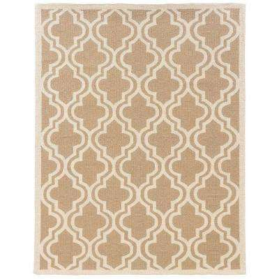 High Quality Silhouette Quatrefoil Beige And White 8 Ft. X 10 Ft. Indoor Area Rug