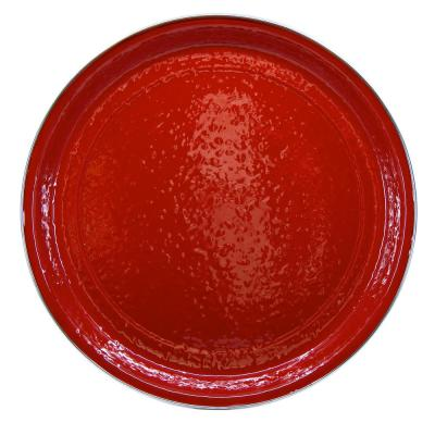20 in. Solid Red Enamelware Round Serving Tray