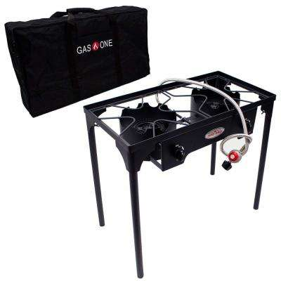 150,000 BTU High Pressure Double Propane Burner Outdoor Cooker with Carrying Bag