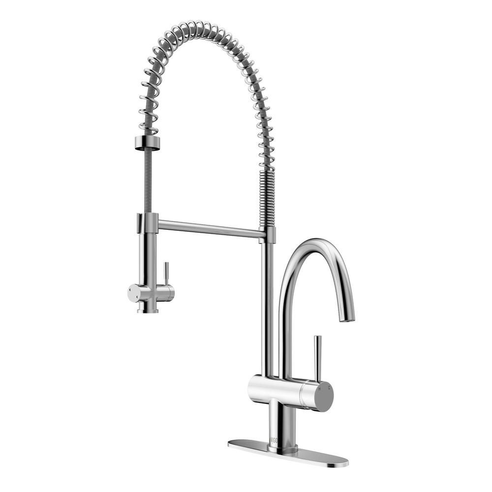 Dresden Single-Handle Pull-Down Sprayer Kitchen Faucet with Deck Plate in Chrome