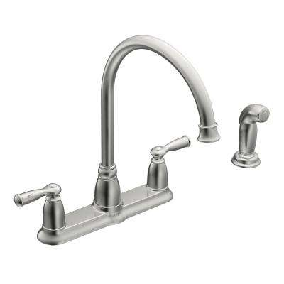 Banbury High Arc 2 Handle Standard Kitchen Faucet With Side Sprayer In  Chrome