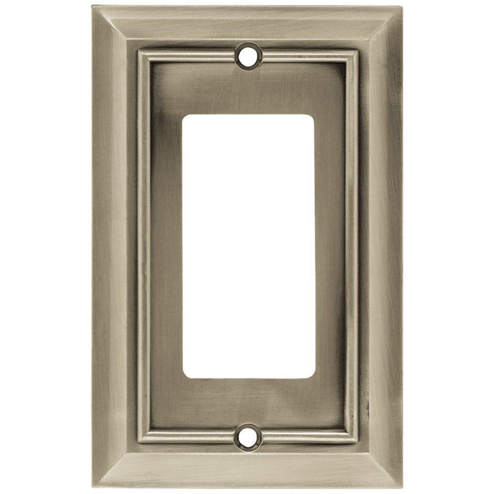 Architectural Decorative Single Rocker Switch Plate, Satin Nickel (4-Pack)