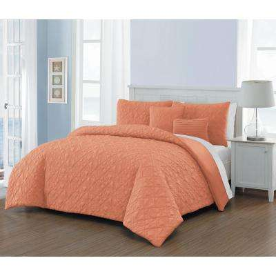 Del Ray 9-Piece Coral/White Queen Quilt Set