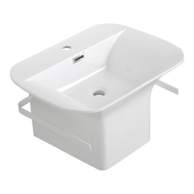 Streamline 23.6 in. W x 17.7 in. D x 13.8 in. H Vanity in Glossy White with Solid Surface Resin Top in White with White Basin