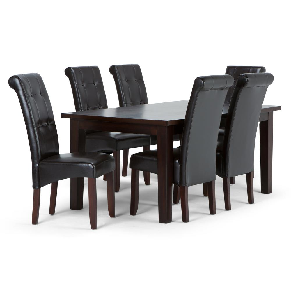 Simpli Home Cosmopolitan 7 Piece Tanners Brown Dining Set